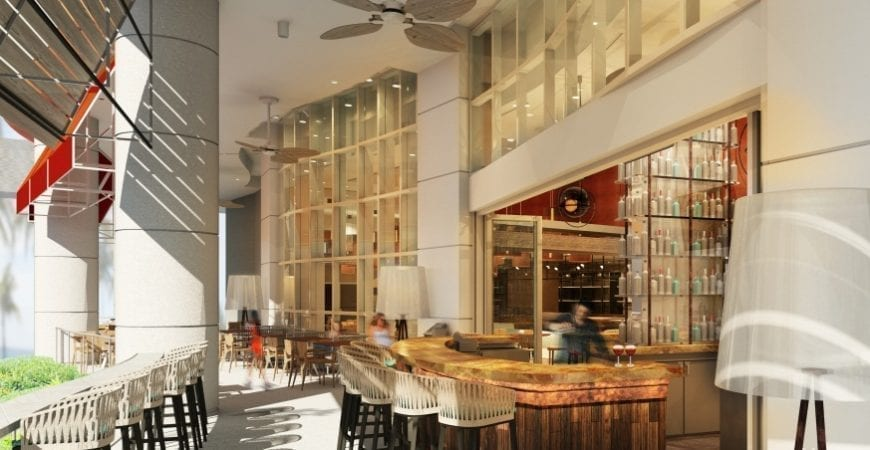 The new restaurant and bar will welcome both locals and guests alike, with a fresh, modern ambiance, offering stunning views of the Atlantic Ocean and perfect setting for people watching.