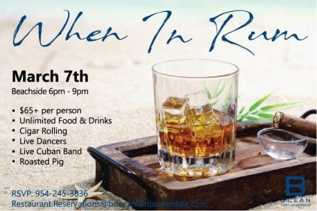 When in Rum - a Food & Cocktail Experience on the Beach @ B Ocean Resort
