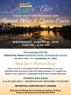 Sunset Wine & Cheese Cruise @ Water Taxi Pick up at Stranahan House/Riverside Hotel