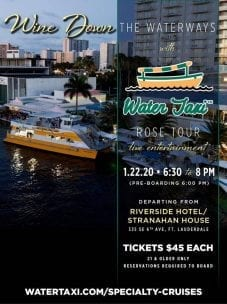 Wine-Down Wednesday Wine & Cheese Cruise Aboard the Water Taxi @ Water Taxi Departure from the Stranahan House