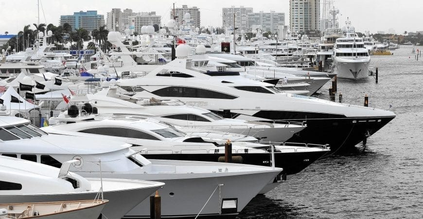 Luxury yachts line the Intracoastal Waterway during the Fort Lauderdale International Boat Show Jim Rassol/ Sun Sentinel. (Jim Rassol, Sun Sentinel)