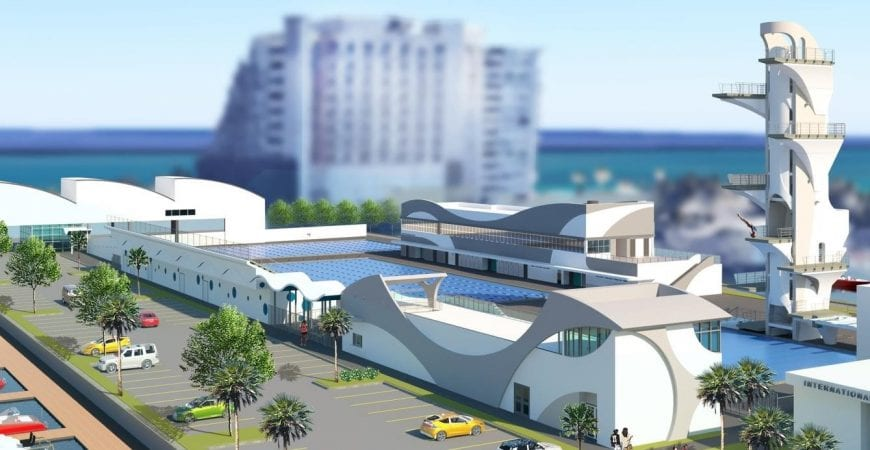 rendering of the fort lauderdale aquatic center and 27 meter dive tower